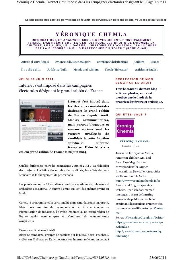 Internet s'est imposé dans les campagnes électorales désignant le grand rabbin de France depusi 2008