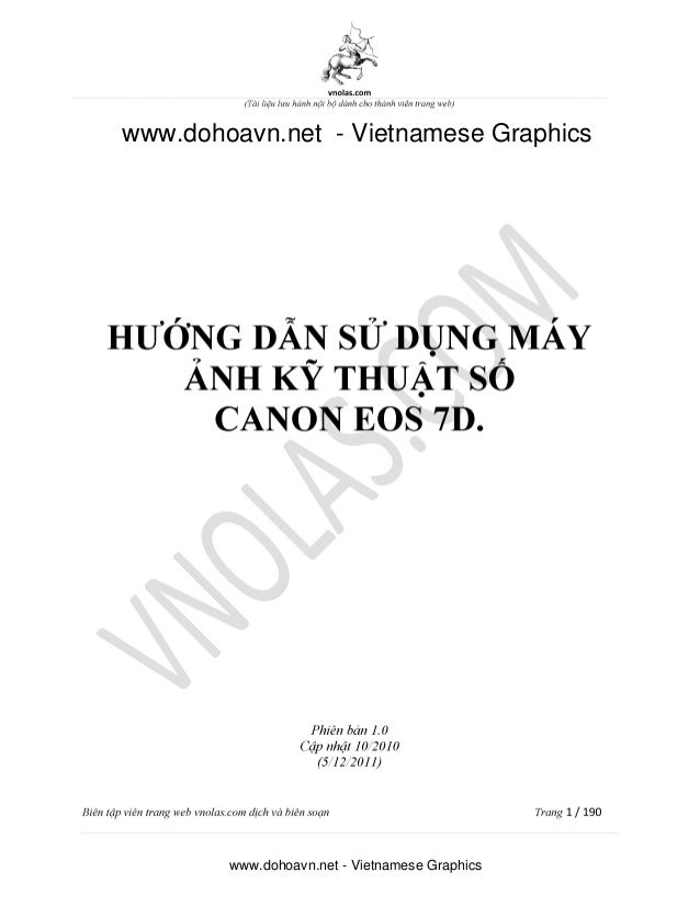 Sách hướng dẫn sử dụng máy ảnh Canon 7D chuyên dụng