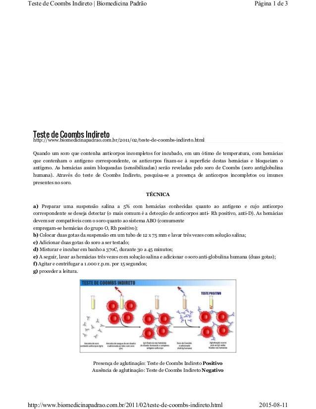 Teste de Coombs Indireto http://www.biomedicinapadrao.com.br/2011/02/teste-de-coombs-indireto.html Quando um soro que cont...