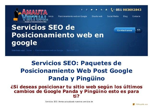 Posicionamiento web y Servicios seo