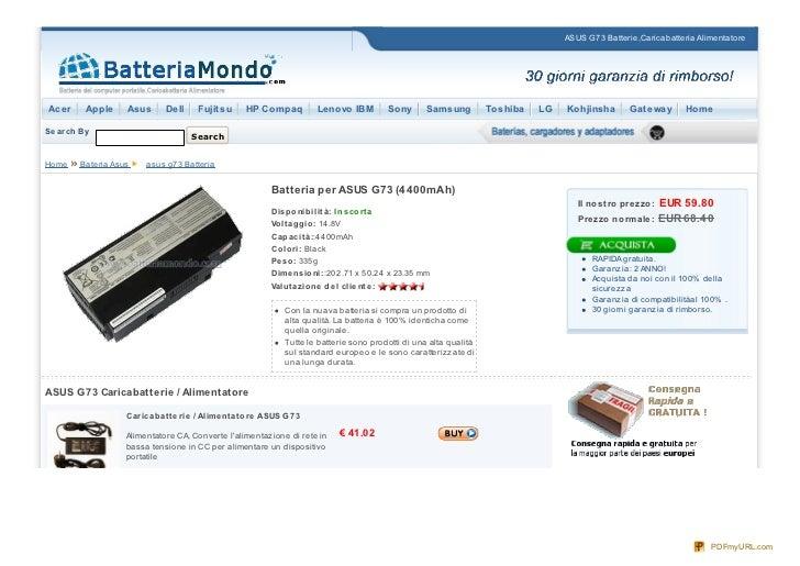 ASUS G73 Batterie,Caricabatteria AlimentatoreAcer      Apple    Asus      Dell     Fujit su      HP Compaq            Leno...