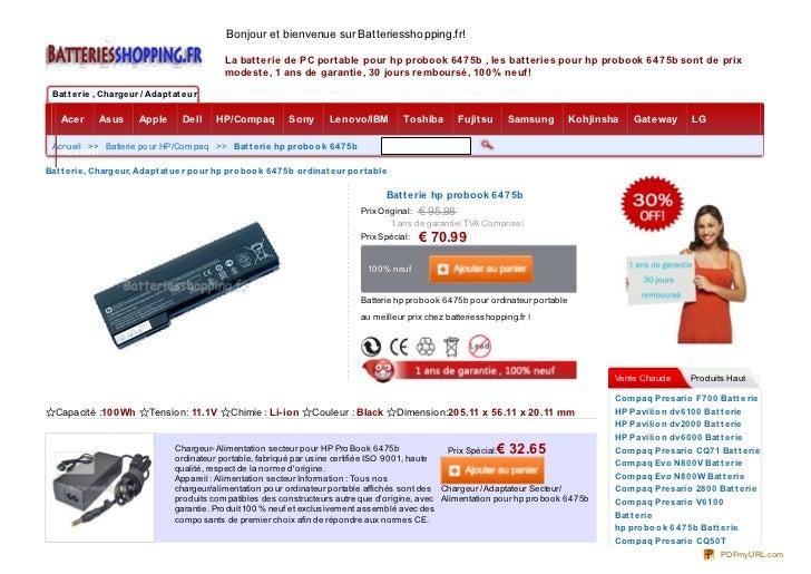 Bonjour et bienvenue sur Batteriesshopping.fr!                                                La batterie de PC portable p...