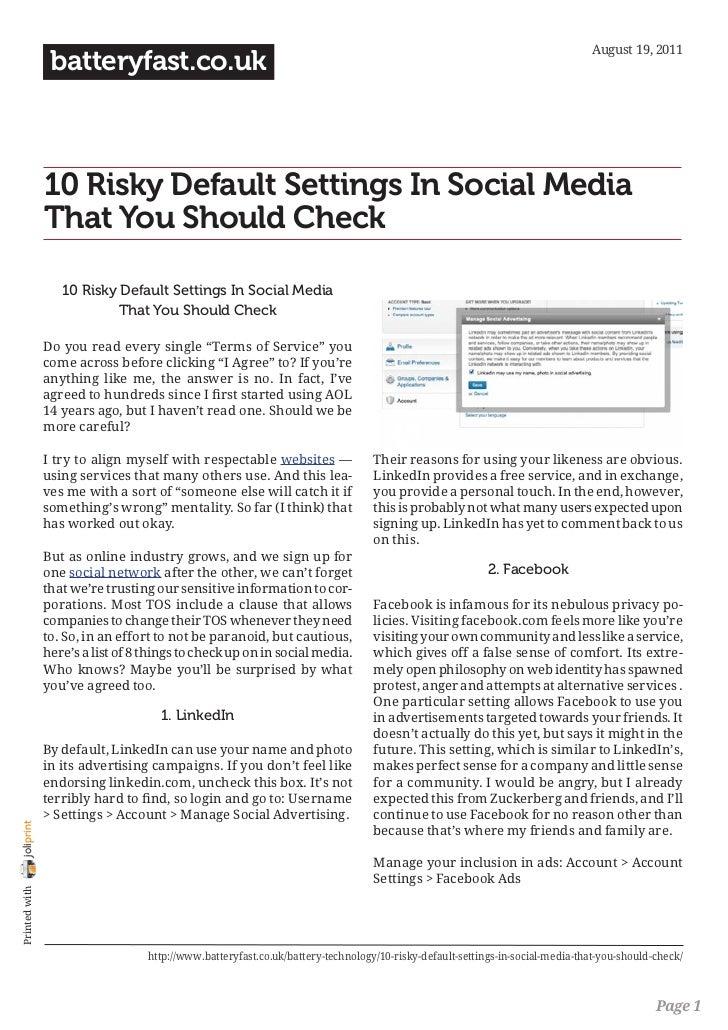 August 19, 2011                 batteryfast.co.uk                10 Risky Default Settings In Social Media                ...