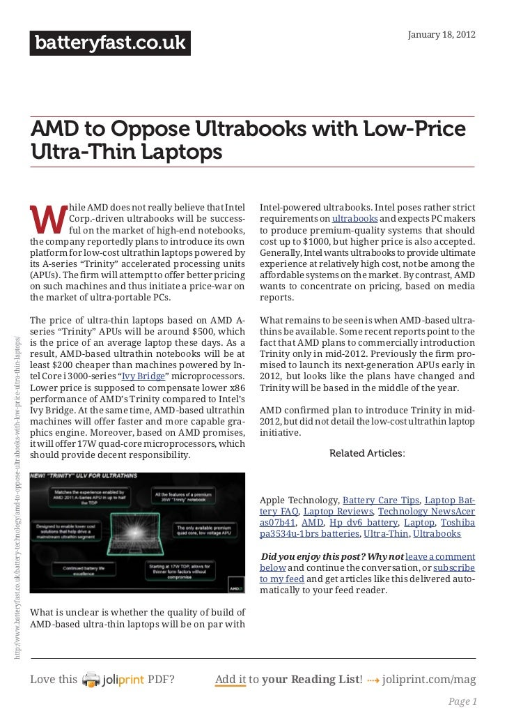 Www.batteryfast.co.uk amd-to-oppose-ultrabooks-with-low-price-ultra-thin-laptops