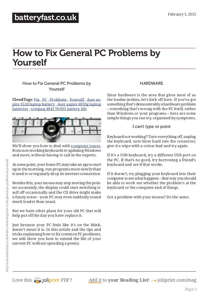Www.batteryfast.co.uk how-to-fix-general-pc-problems-by-yourself