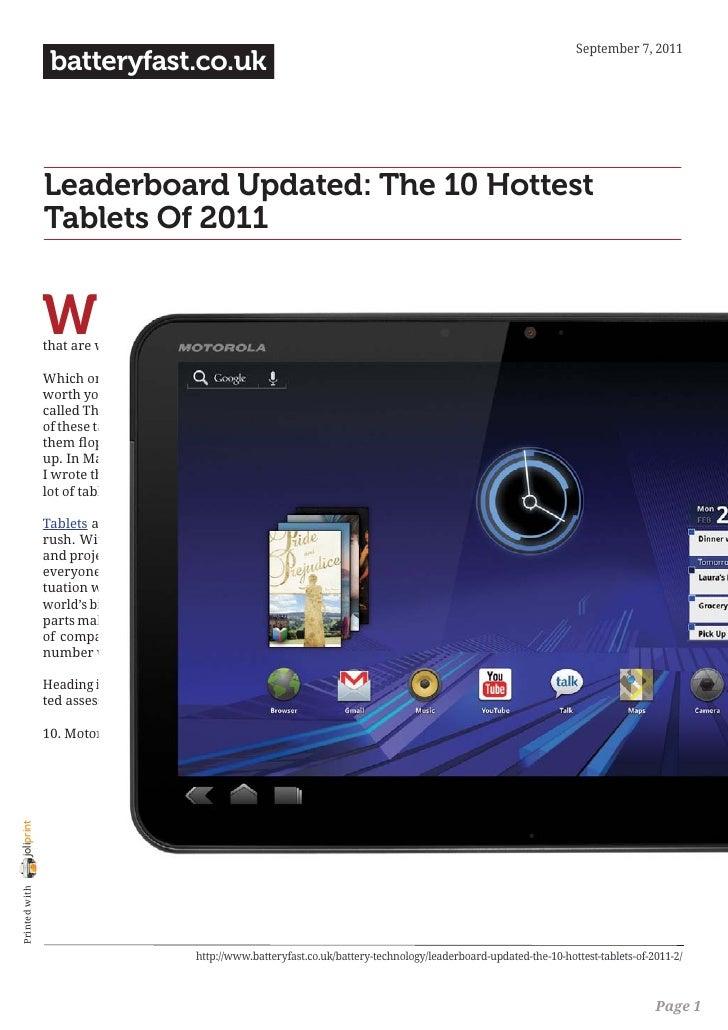 September 7, 2011                 batteryfast.co.uk                Leaderboard Updated: The 10 Hottest                Tabl...