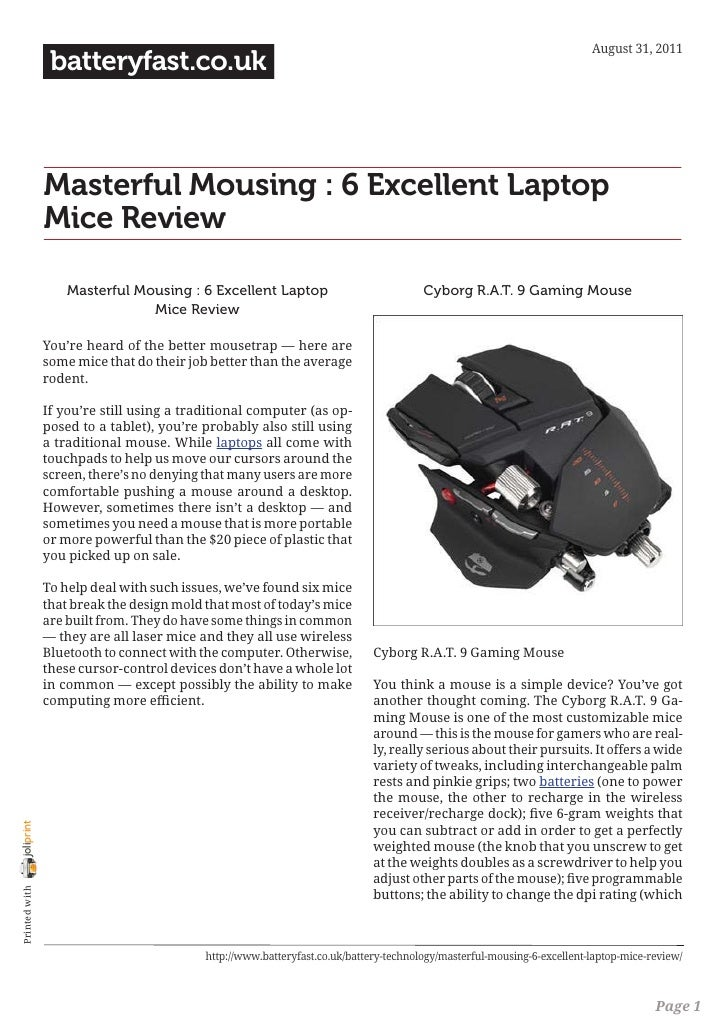 August 31, 2011                 batteryfast.co.uk                Masterful Mousing : 6 Excellent Laptop                Mic...