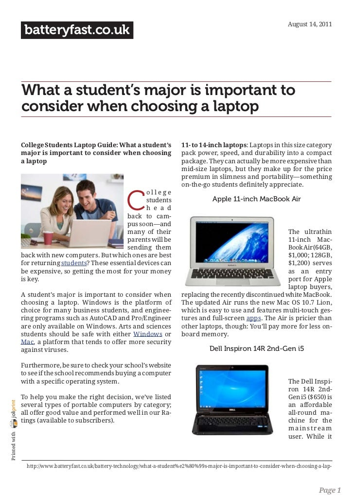 www.batteryfast.co.uk-What a student's major is important to consider when choosing a laptop