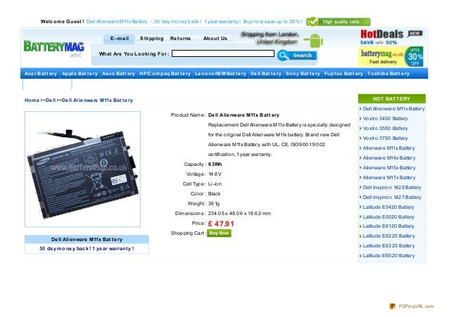 We lco m e Gue st ! Dell Alienware M11x Battery : 30 day mo ney back ! 1 year warranty ! Buy no w save up to 30 % !       ...