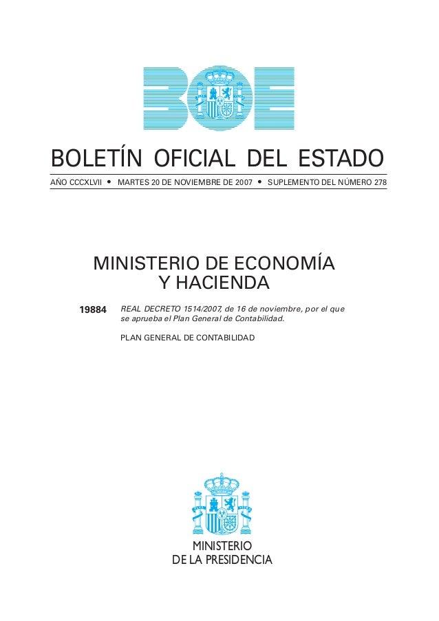 BOE PLAN GENERAL CONTABILIDAD 2007 ESPAÑA