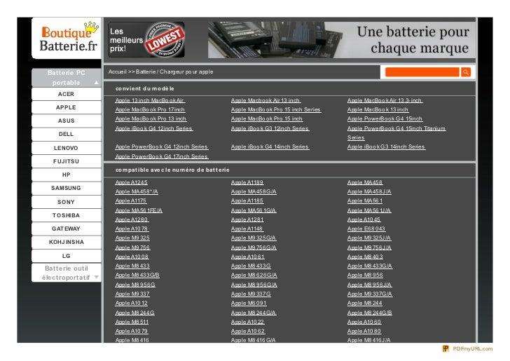 Batterie PC      Accueil >> Batterie / Chargeur po ur apple  portable                    co nvie nt du m o dè le     ACER ...