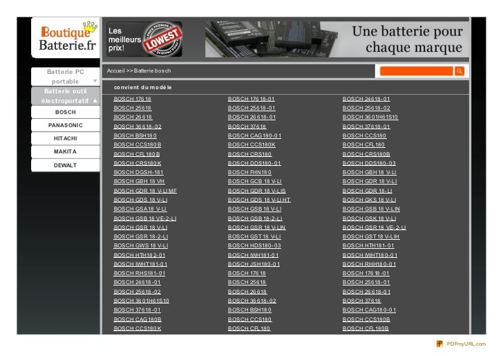 Batterie PC      Accueil >> Batterie bo sch  portable                    co nvie nt du m o dè le Batterie outilélectroport...