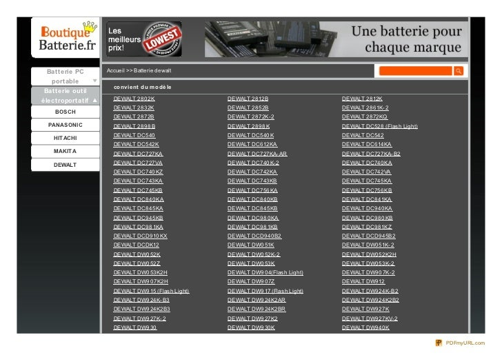 Batterie PC      Accueil >> Batterie dewalt  portable                    co nvie nt du m o dè le Batterie outilélectroport...