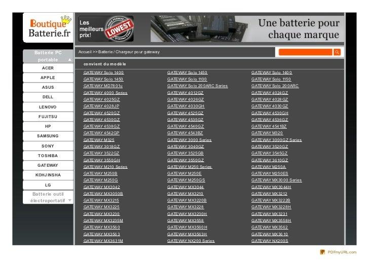 Batterie PC      Accueil >> Batterie / Chargeur po ur gateway  portable                    co nvie nt du m o dè le     ACE...