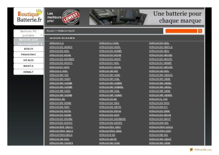 Batterie PC      Accueil >> Batterie hitachi  portable                    co nvie nt du m o dè le Batterie outilélectropor...