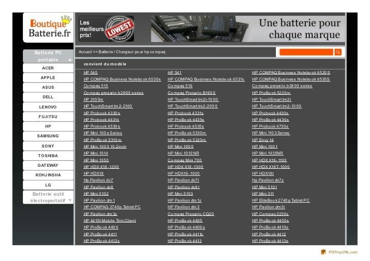Batterie PC      Accueil >> Batterie / Chargeur po ur hp co mpaq  portable                    co nvie nt du m o dè le     ...