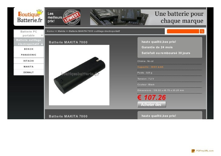 Batterie PC       Ho me >> Makita >> Batterie MAKITA 70 0 0 o utillage électro po rtatif    portableBatterie outillage    ...
