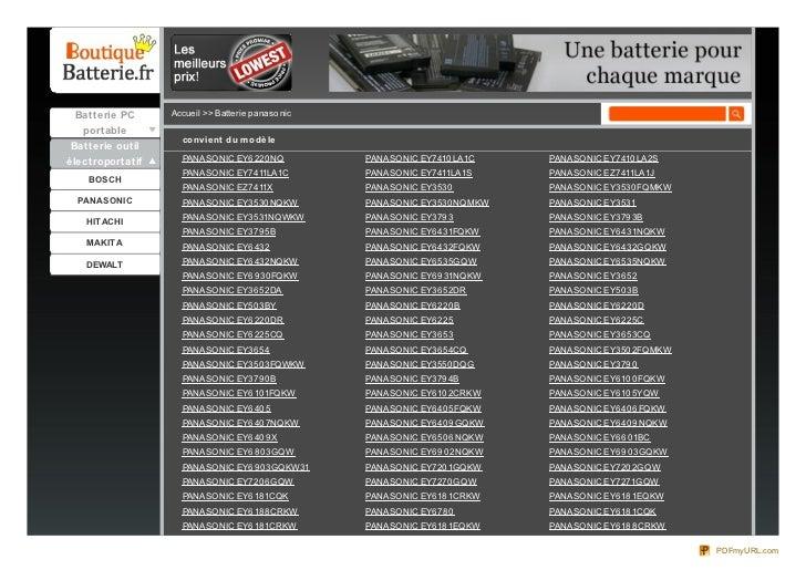 Batterie PC      Accueil >> Batterie panaso nic  portable                    co nvie nt du m o dè le Batterie outilélectro...