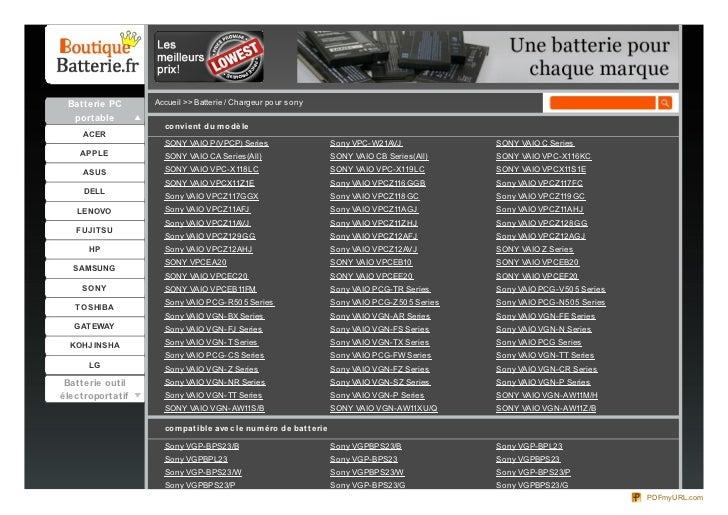 Batterie PC      Accueil >> Batterie / Chargeur po ur so ny  portable                    co nvie nt du m o dè le     ACER ...