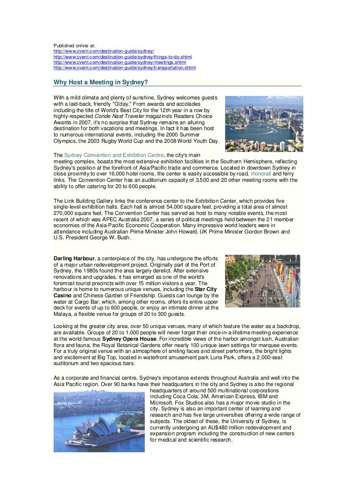 Published online at:http://www.cvent.com/destination-guide/sydney/http://www.cvent.com/destination-guide/sydney/things-to-...