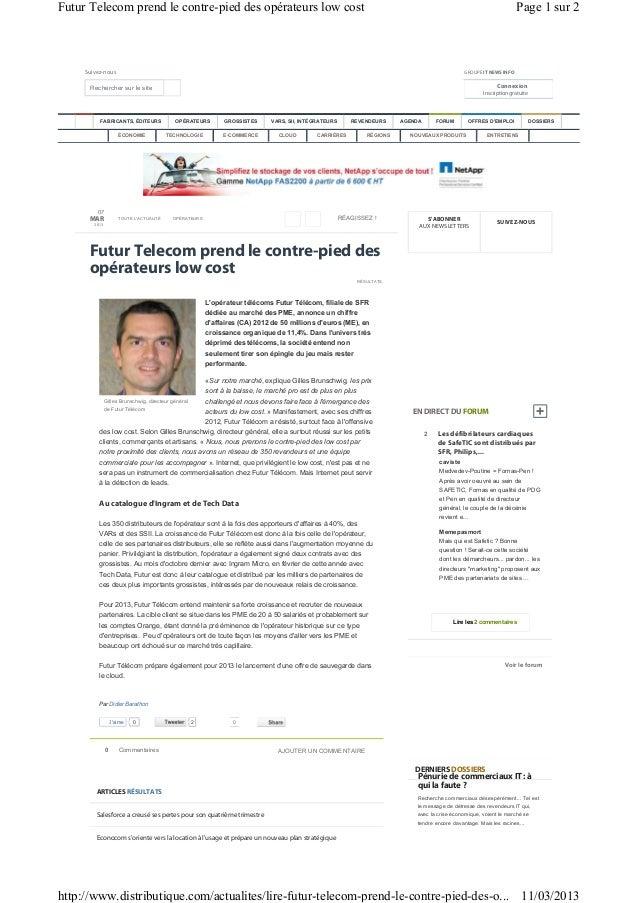 Futur Telecom prend le contre-pied des opérateurs low cost                                                                ...