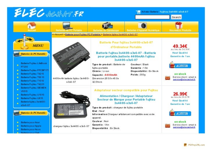 Acheter Batterie : f ujit su 3s4 4 0 0 -s3s6 -0 7                                                                         ...