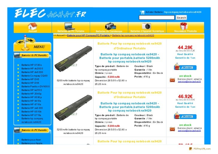 Acheter Batterie : hp co m paq no t e bo o k nx9 4 20                                                                     ...