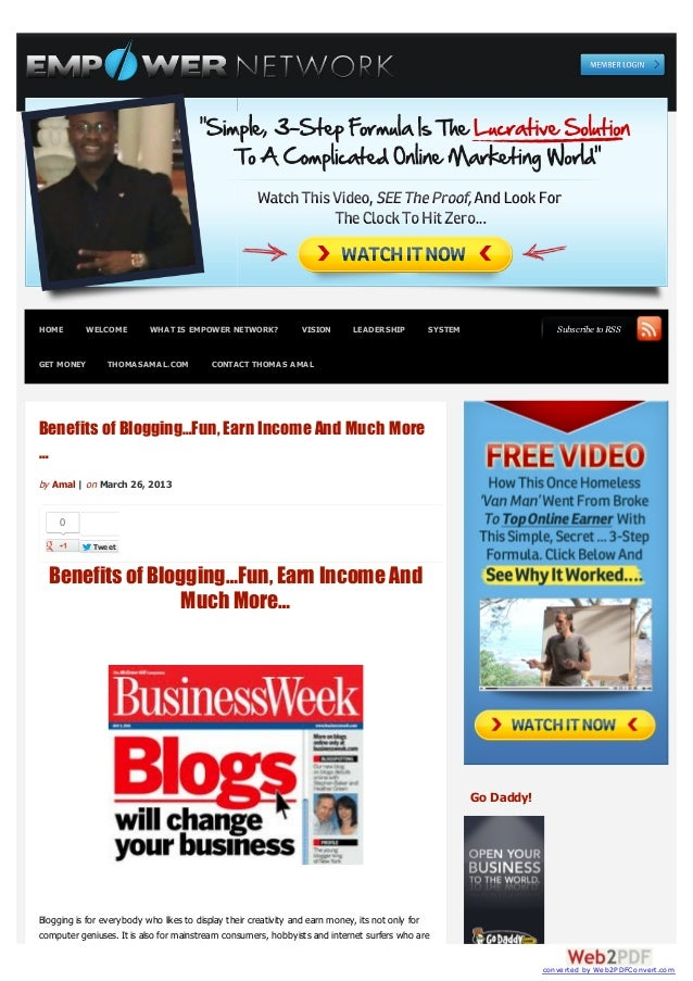 Benefits of Blogging…Fun, Earn Income And Much More…