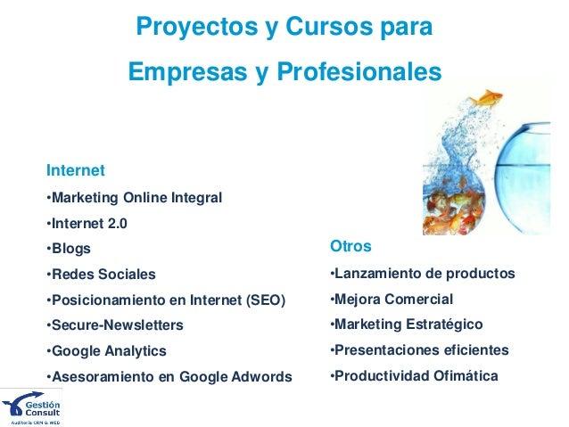 Proyectos y Cursos para Empresas y Profesionales Otros •Lanzamiento de productos •Mejora Comercial •Marketing Estratégico ...