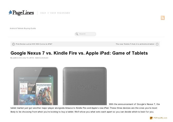 Game of Tablets - Google Nexus 7 vs. Kindle Fire vs. Apple iPad