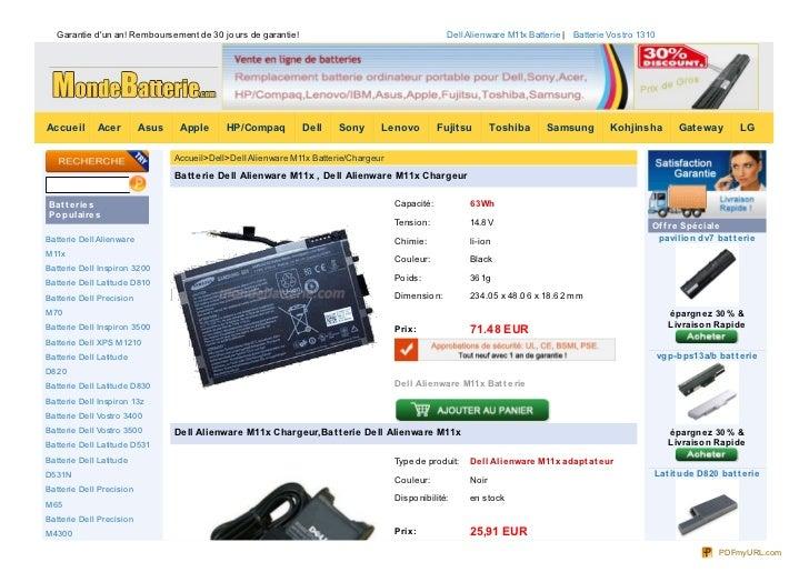 Garantie dun an! Rembo ursement de 30 jo urs de garantie!                                        Dell Alienware M11x Batte...