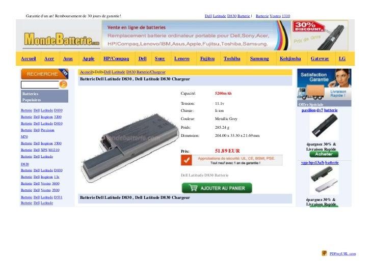 Garantie dun an! Remboursement de 30 jours de garantie!                                               Dell Latitude D830 B...
