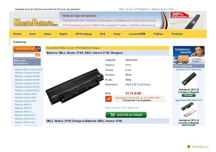 Garantie dun an! Rembo ursement de 30 jo urs de garantie!                                     DELL Vo stro 3750 Batterie |...