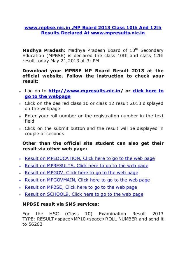 www.mpbse.nic.in ,MP Board 2013 Class 10th And 12thResults Declared At www.mpresults.nic.inMadhya Pradesh: Madhya Pradesh ...