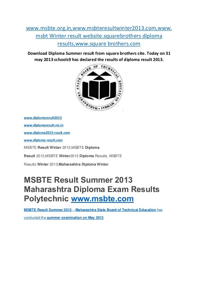 www.msbte.org.in,www.msbteresultwinter2013.com,www.msbt Winter result website.squarebrothers diplomaresults,www.square bro...