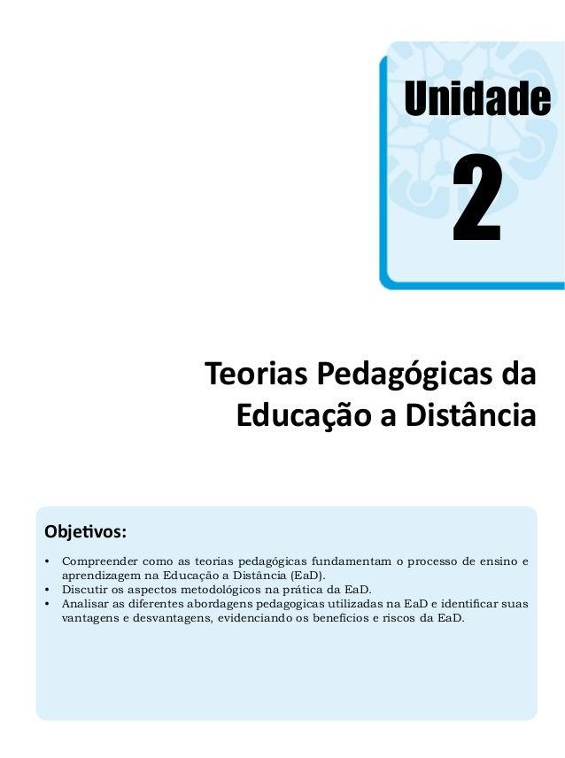 Unidade Objetivos: • Compreender como as teorias pedagógicas fundamentam o processo de ensino e aprendizagem na Educação ...