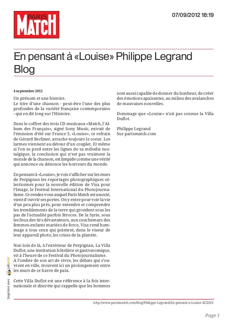 07/09/2012 18:19                En pensant à «Louise» Philippe Legrand                Blog                4 septembre 2012...