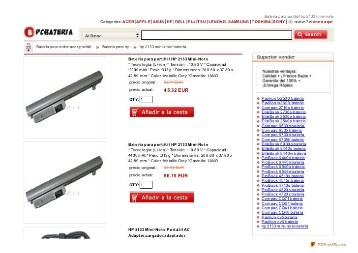 Batería para po rtátil hp 2133 mini-no te                                      Catego rías: ACER APPLE ASUS HP DELL FUJ IT...