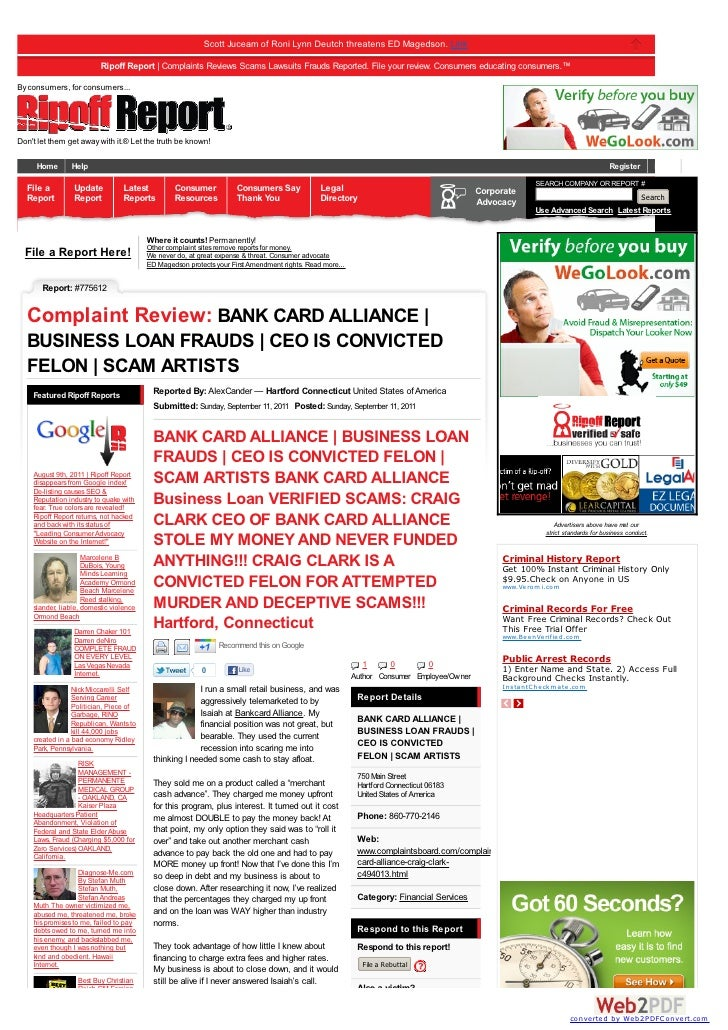 Scott Juceam of Roni Lynn Deutch threatens ED Magedson. Link                          Ripoff Report | Complaints Reviews S...