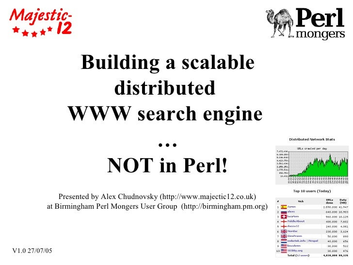 Building a scalable distributed  WWW search engine  … NOT in Perl! Presented by Alex Chudnovsky (http://www.majectic12.co....