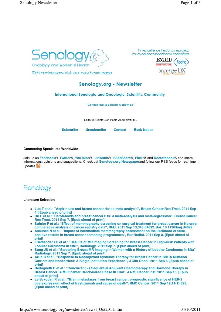 Senology.org Newsletter - October 4, 2011 - Latest Advances in Clinical Senology and Oncology