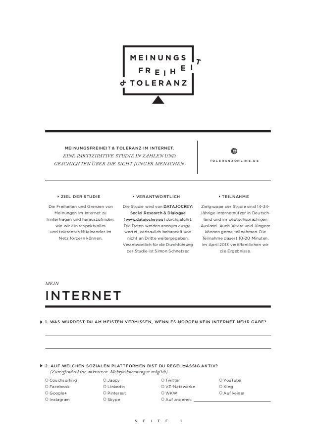 """www.toleranzonline.de  < > Fragebogen zu """"Meinungsfreiheit und Toleranz im Internet"""""""