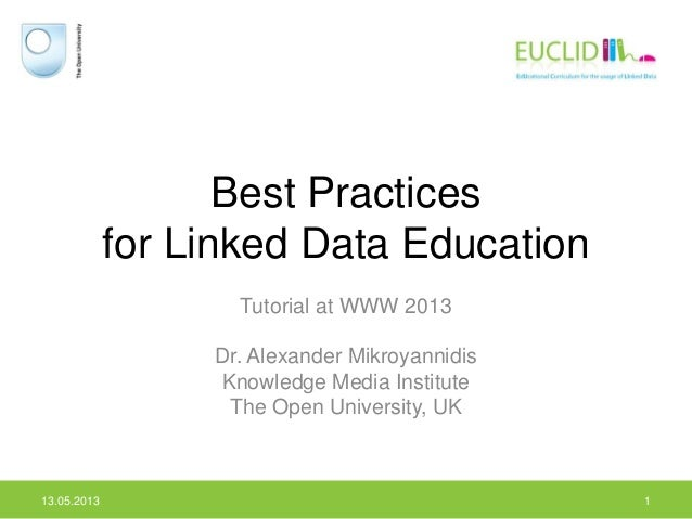 Best Practicesfor Linked Data EducationTutorial at WWW 2013Dr. Alexander MikroyannidisKnowledge Media InstituteThe Open Un...