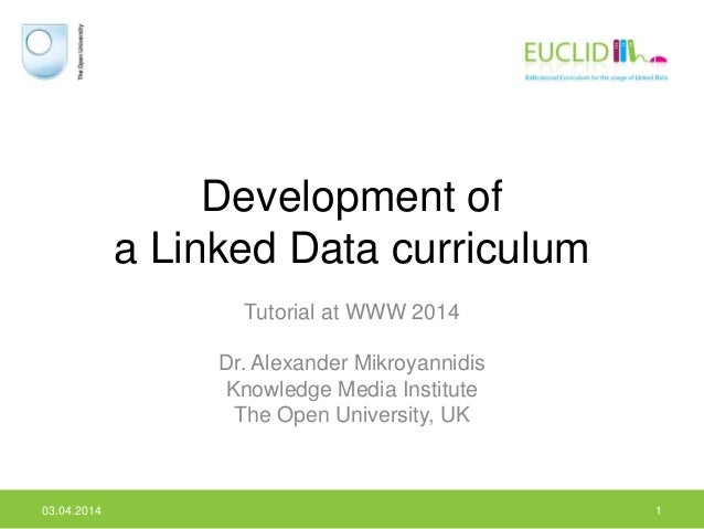 Development of a Linked Data curriculum Tutorial at WWW 2014 Dr. Alexander Mikroyannidis Knowledge Media Institute The Ope...