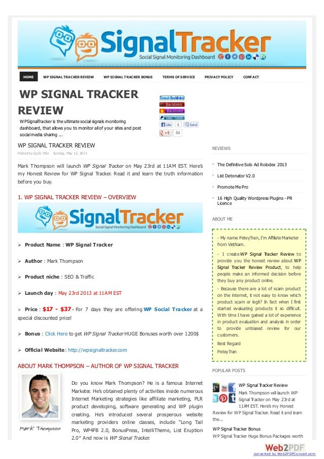 HOME WP SIGNAL TRACKER REVIEW WP SIGNAL TRACKER BONUS TERMS OF SERVICE PRIVACY POLICY CONTACTWP SIGNAL TRACKER REVIEWPoste...