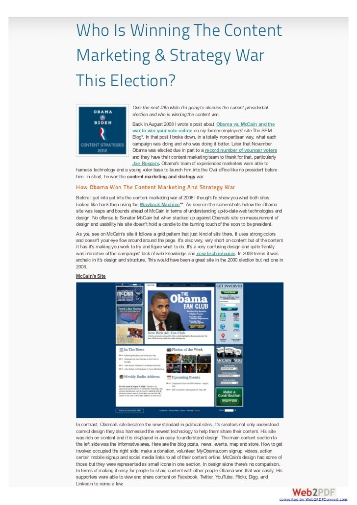 Who Is Winning The ContentMarketing & Strategy WarThis Election?                            Over the next little while Im ...