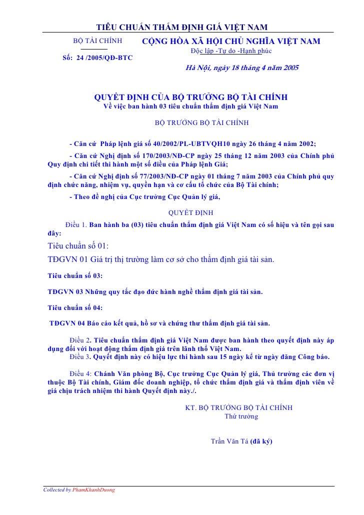 TIÊU CHUẨN THẨM ĐỊNH GIÁ VIỆT NAM            BỘ TÀI CHÍNH          CỘNG HÒA XÃ HỘI CHỦ NGHĨA VIỆT NAM                     ...