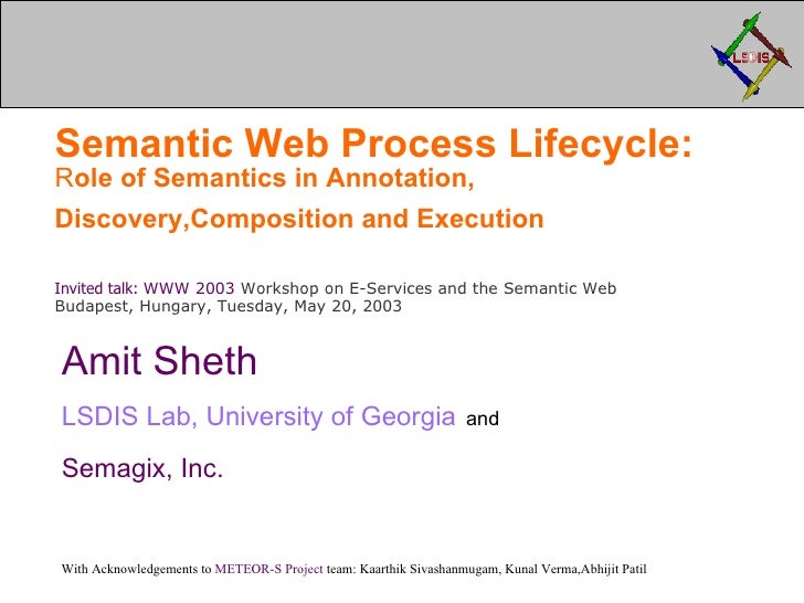 Semantic Web Process Lifecycle: Role of Semantics in Annotation, Discovery, Composition and Orchestration