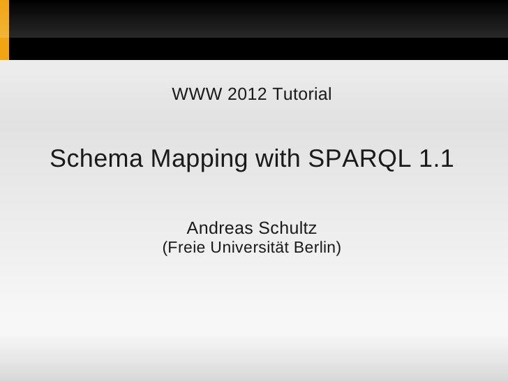 WWW 2012 TutorialSchema Mapping with SPARQL 1.1           Andreas Schultz        (Freie Universität Berlin)