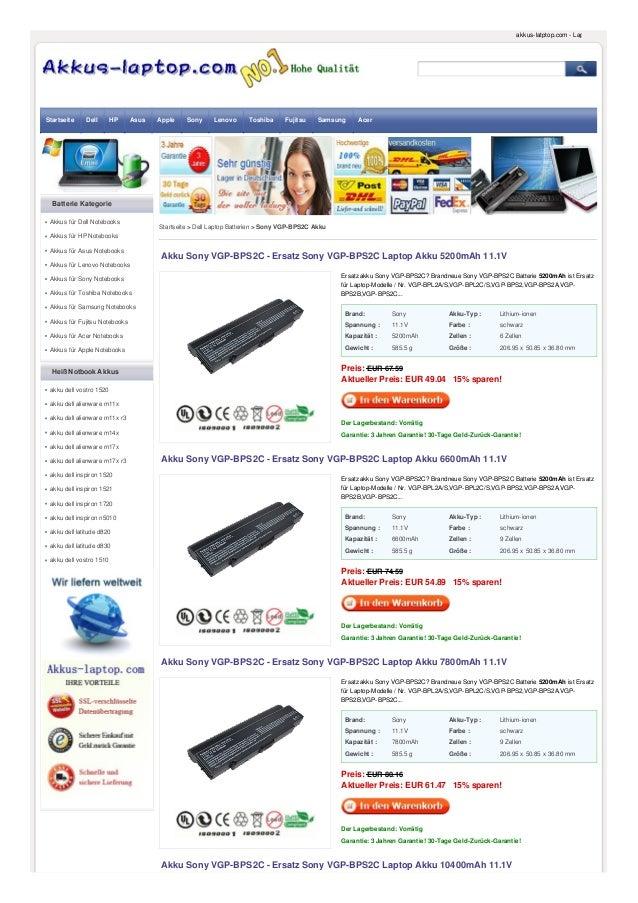 Brand: Sony Akku-Typ : Lithium-ionen Spannung : 11.1V Farbe : schwarz Kapazität : 5200mAh Zellen : 6 Zellen Gewicht : 585....